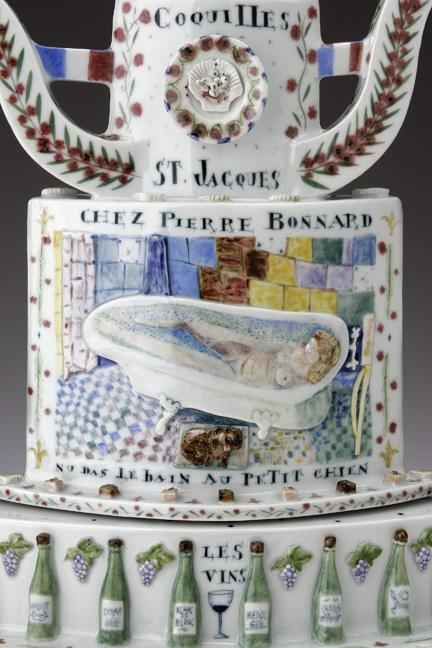 """Mara Superior, """"Belle France"""", 2005, 22 x 19 x 8.5"""", high-fired porcelain, ceramic oxides, underglaze, glaze, wood base, gold leaf, bone label, brass pins."""