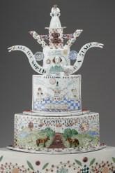 "Mara Superior, ""Oh Britania Teapot"", 2006, 24 x 28.5 x 13"", high-fired porcelain, ceramic oxides, underglaze, glaze."