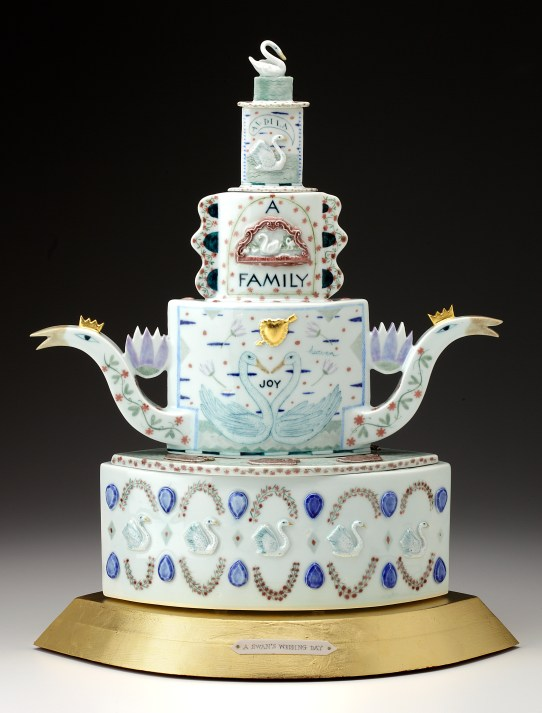"Mara Superior, ""A Swan's Wedding Day"", 2008, 21 x 16 x 10"", high-fired porcelain, ceramic oxides, underglaze, glaze, wood, gold leaf, bone, ink, brass pins. Renwick Gallery, Smithsonian American Museum of Art (2019.7.1)."