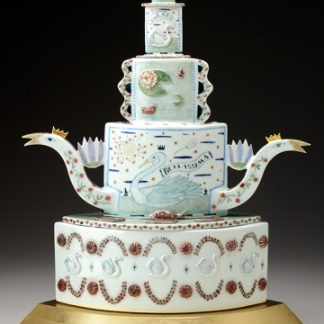 """A Swan's Wedding Day"", 2008, 21 x 16 x 10"", high-fired porcelain, ceramic oxides, underglaze, glaze, wood, gold leaf, bone, ink, brass pins."