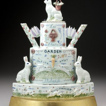 """A Spring Dream (Rabbit Teapot)"", 2008, 16 x 17 x 6"", high-fired porcelain, ceramic oxides, underglaze, glaze, wood, gold leaf."