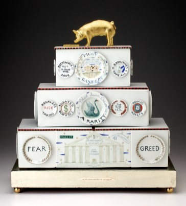 "Mara Superior, ""Piggy Bankers/The Great Recession of 2008"", 2009, 24 x 22 x 9.5"", high-fired porcelain, ceramic oxides, underglaze, glaze, wood, white gold leaf, gold leaf, bone, ink, brass. The Chipstone Foundation."