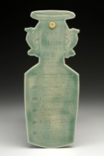 "Mara Superior, ""A Collection: The Celadons"", 2016, 14 x 17.5 x 1.5"" (platter); 10.5 x 4 x .5"" (key), high-fired porcelain, ceramic oxides, underglaze, celadon glazes, gold leaf. Peabody Essex Museum of Art."