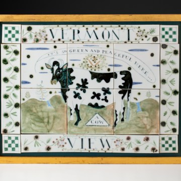 """Vermont View"", 2005, 14.5 x 19.5 x 1.5"", high-fired porcelain, ceramic oxides, underglaze, glaze, wood frame, paint, gold leaf."