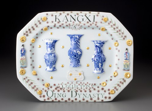 """Mara Superior, """"Kangxi Period, Qing Dynasty/A Collection"""", 2018, 12.5 x 15.5 x .5"""", high-fired porcelain, ceramic oxides, underglaze, glaze, gold leaf. The Frick Pittsburgh."""