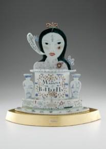 "Mara Superior, ""Madama Butterfly"", 2005, 22 x 18 x 8"", high-fired porcelain, ceramic oxides, underglaze, glaze, wood, gold leaf, bone, brass pins."
