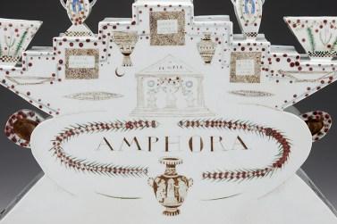 """Mara Superior, """"Amphora"""", 1990, 12.5 x 22 x 4"""", high-fired porcelain, ceramic oxides, underglaze, glaze."""