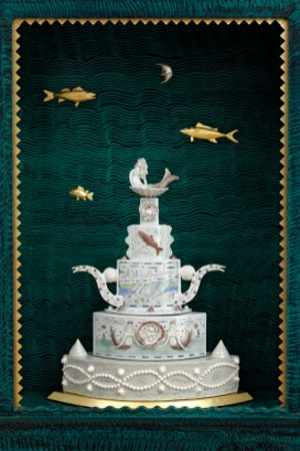 """Sea of Plenty: Roy & Mara Superior Collaborative Cabinet"", 2008, 84 x 33.5 x 19"", high-fired porcelain, ceramic oxides, underglaze, glaze, wood, gold leaf, bone, ink, egg tempera, shell."