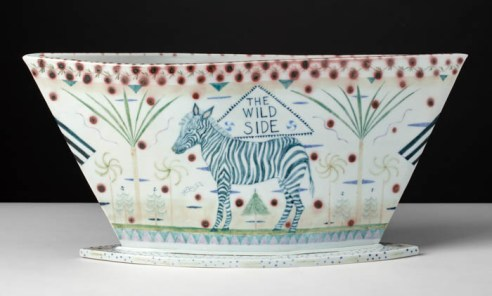 "Mara Superior, ""Enchanted Wood/The Wild Side"", 1997. 10 x 22 x 4.5"", high-fired porcelain, ceramic oxides, underglaze, glaze."