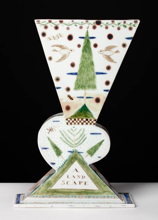 "Mara Superior, ""A Landscape/A Cow"", 1985, 12 x 8 x 3"", high-fired porcelain, ceramic oxides, underglaze, glaze. Bennington Museum of Art (2019.1.2)."