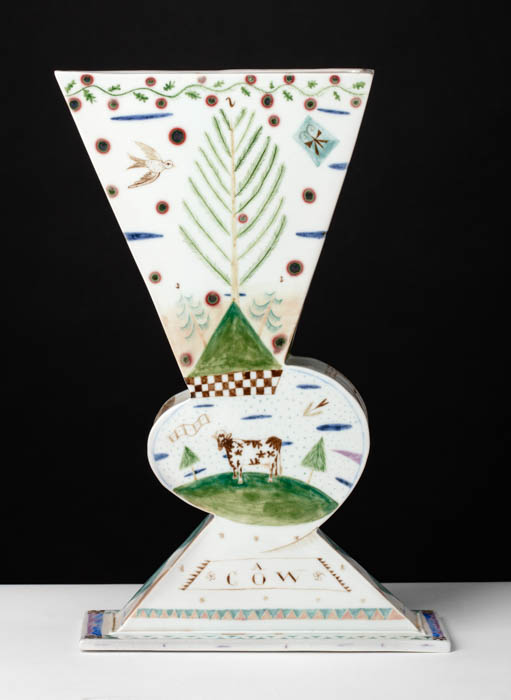 "Mara Superior, ""A Landscape/A Cow"", 1985, 12 x 8 x 3"", high-fired porcelain, ceramic oxides, underglaze, glaze. Bennington Museum of Art (2019.1.2)."