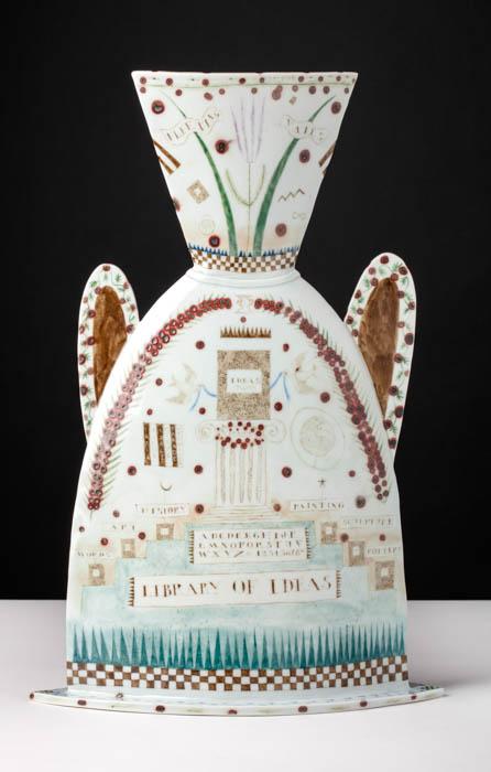 "Mara Superior, ""Land of the Idea"", 1986, 17 x 12 x 4.5"", high-fired porcelain, ceramic oxides, underglaze, glaze. Museum of Fine Arts Boston (2019.15)."