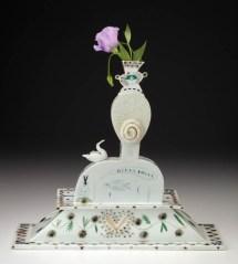 "Mara Superior, ""La Femme"", 1995, detail, 17.5 x 19 x 7"", high-fired porcelain, ceramic oxides, underglaze, glaze."