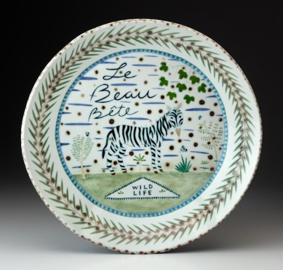 "Mara Superior, ""Le Beaux Bete"", 2002, 16 x 16 x 2"", high-fired porcelain, ceramic oxides, underglaze, glaze."