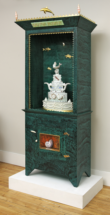 "Roy & Mara Superior, ""Sea of Plenty"", 2008, 84 x 33 x 16"", high-fired porcelain, ceramic oxides, underglaze, glaze, wood, gold leaf, bone, ink, egg tempera, brass pins, mother of pearl, shells. Peabody Essex Museum."