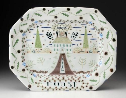 "Mara Superior ""Winter House Platter"", 2004, 14 x 18 x 1.5"", high-fired porcelain, ceramic oxides, underglaze, glaze."