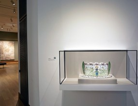 "Mara Superior's ""Angelo Da Vendemmia—Castle Vase"", 2002, High-fired porcelain, ceramic oxides, underglaze, glaze. Hood Museum of Art, Dartmouth: Gift of the Kohler Foundation, Inc.; 2019.14.2 ""Art for Dartmouth: Celebrating the 250th"", August 31, 2019 –January 12, 2020."