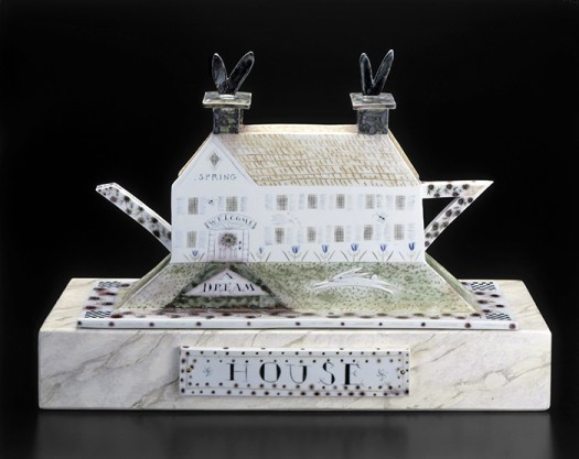 "Mara Superior, ""A Dream House"", 1998, high-fired porcelain, ceramic oxides, underglaze, glaze, 13 x 18 x 10"". Museum of Art and Design, Gift of Melinda and Paul Sullivan, 1999, (1999.21a-d)."
