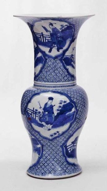 "Probably Chinese, Dynasty (1644-1912), Kangxi Period, 1662-1722, ""Vase"", c. 1700, porcelain with underglaze decoration, 17.75 x 9 x 9"", The Frick Pittsburgh, 1970.18."
