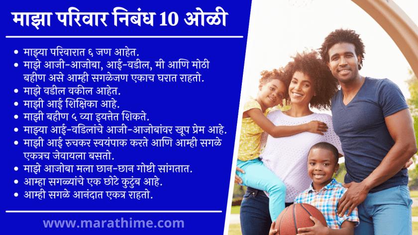 माझा परिवार निबंध 10 ओळी, My Family 10 Lines in Marathi