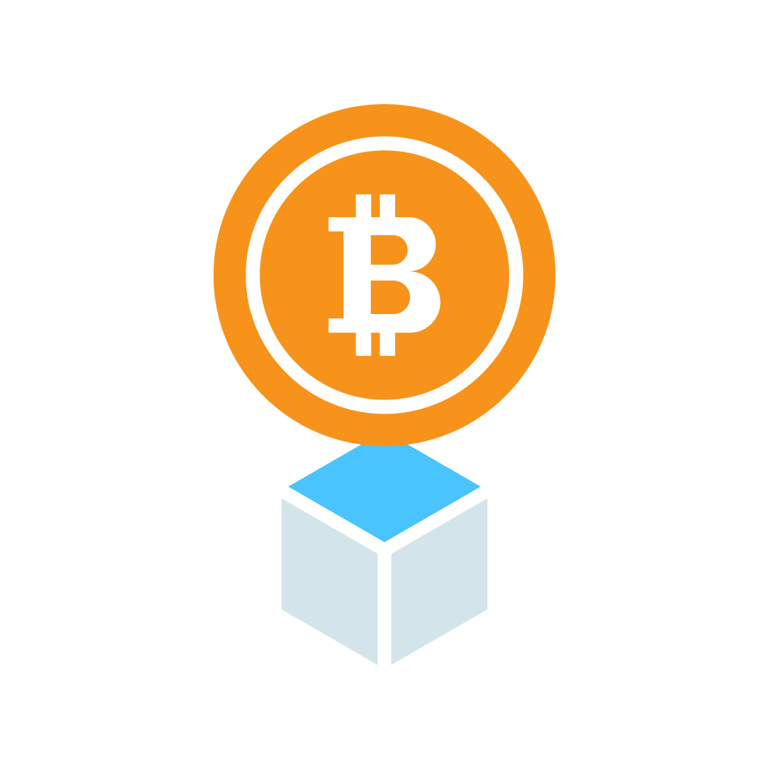 Graphical representation of a Bitcoin logo emerging from a solved block