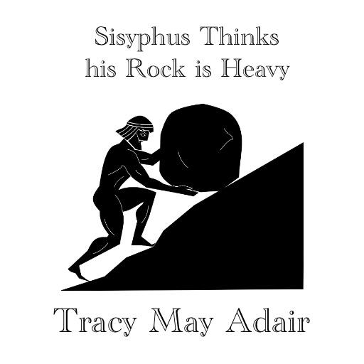 Sisyphus pushing rock up hill