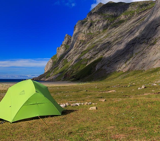 Wild camping on the Bunes beach