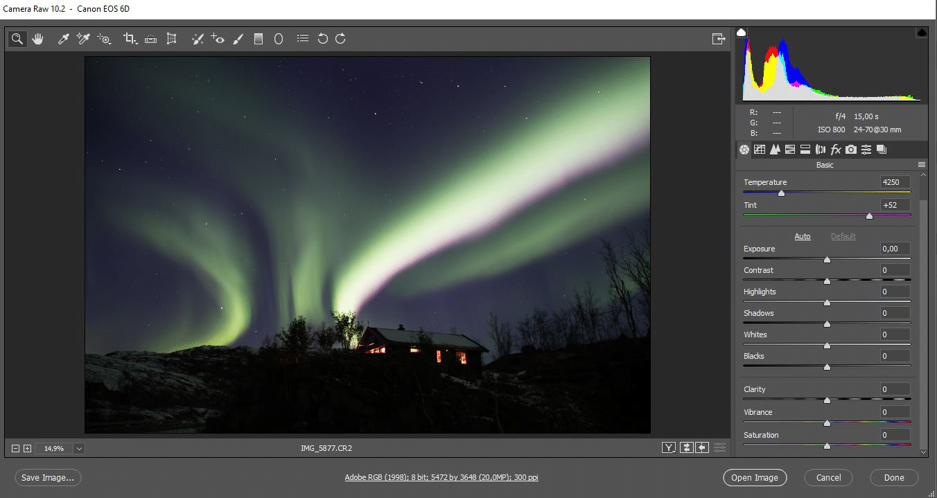 Northern Lights. Camera RAW basic