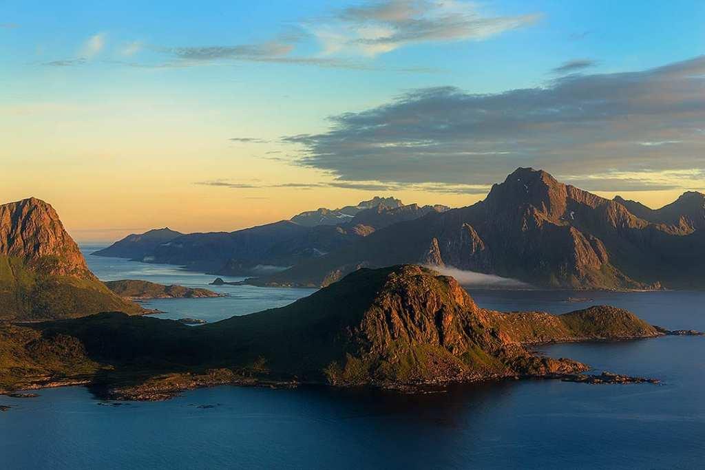 Photogrraphy workshop Lofoten Islands, Norway. View from Mannen.