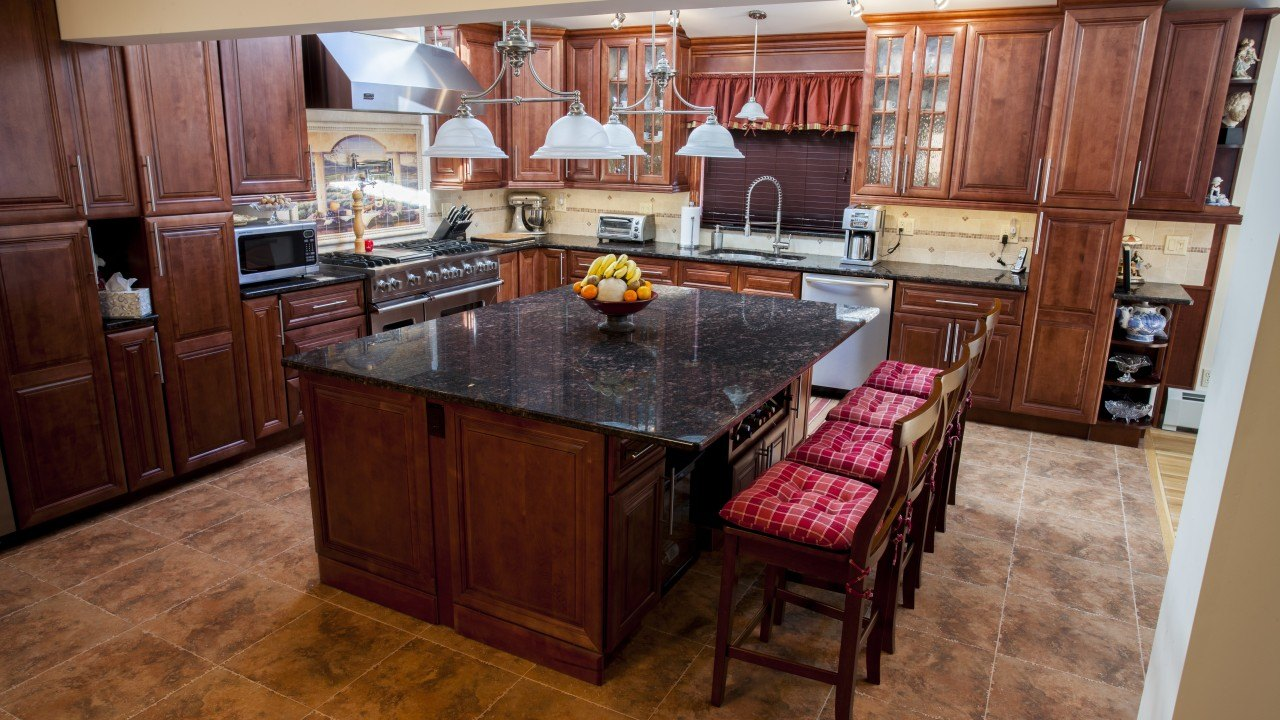 Tan Brown Granite Kitchen | Marble.com on Black Granite Countertops With Brown Cabinets  id=38120