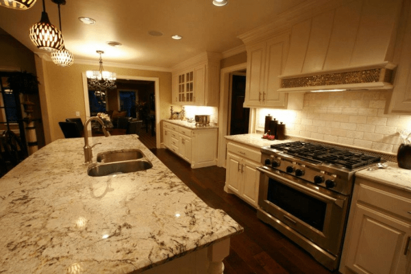 Kitchen with natural stone granite countertop