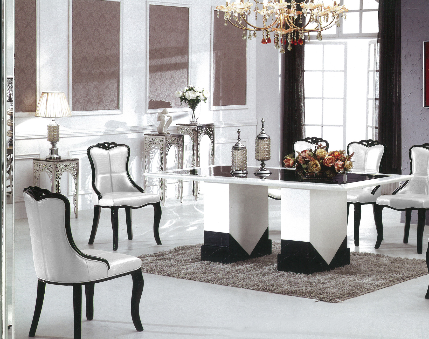 Barcelona Marble Dining Table With 8 Chairs