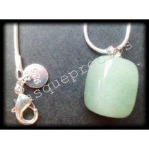 Colgante de jade verde auténtico, cadena chapada en plata de ley 925