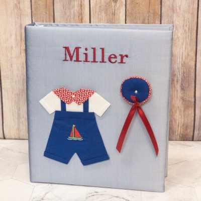 Baby-Memory-Book-KBRE-24B-Blue-Bodoni-Red-Thread-alt