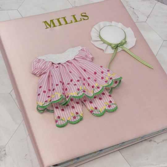 Baby-Memory-Book-KBRE-24G-Pink-Silk-Bodini-Apple-Green-Thread