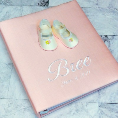 Baby Memory Book In Silk With Baby Shoes
