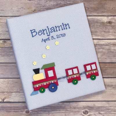 Baby Memory Book In Fine Striped Pima Cotton With Multicolored Train