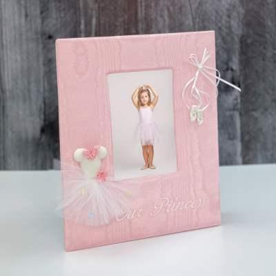 Baby Photo Frame In Moiré With Ballerina Tutu