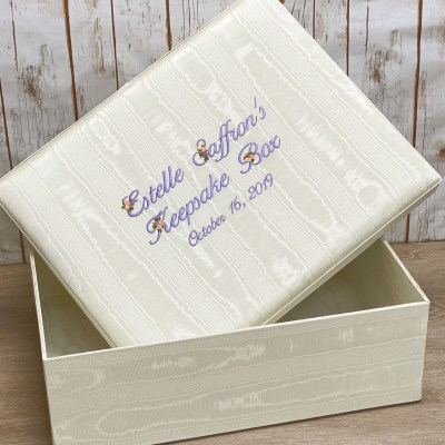 Large Baby Keepsake Box In Moiré With Silk Ribbon Flowers