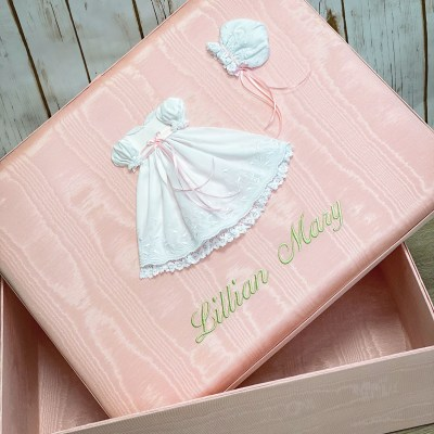Large Baby Keepsake Box In Shantung With Swiss Batiste Dress With Flowers
