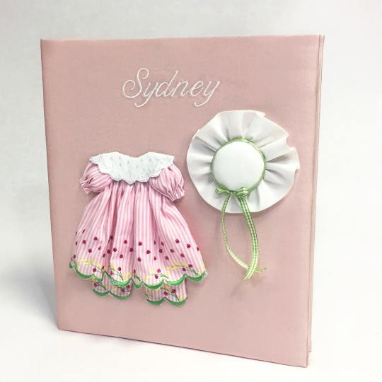 Large-Baby-Photo-Album-AR11-24G-Pink-Silk-Ballantines-Font-White-Thread
