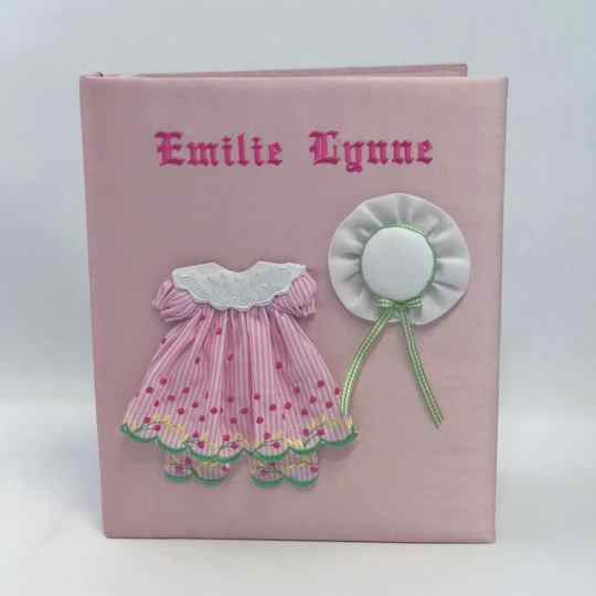 Large-Baby-Photo-Album-AR11-24G-Pink-Silk-Old-English-Font-Hot-Pink-Thread