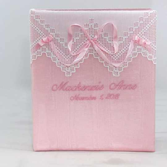 Large-Baby-Photo-Album-AR11-37B-Pink-Moire-Ballantines-Font-Baby-Pink-Thread