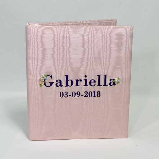 Large Ring Bound Photo Album In Moiré With Silk Ribbon Flowers
