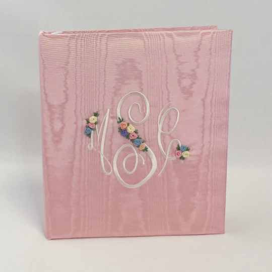 Large-Baby-Photo-Album-AR11-EM-Baby-Pink-Moire-Fancy-Monogram-Oyster-Thread
