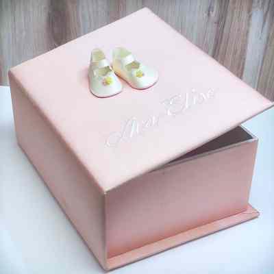 Medium Baby Keepsake Box In Silk With Baby Shoes