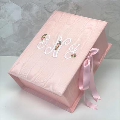 Medium Baby Keepsake Box In Moiré With Silk Ribbon Flowers