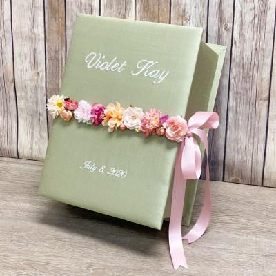 Medium Hardbound Photo Album In Silk With Flower Garland