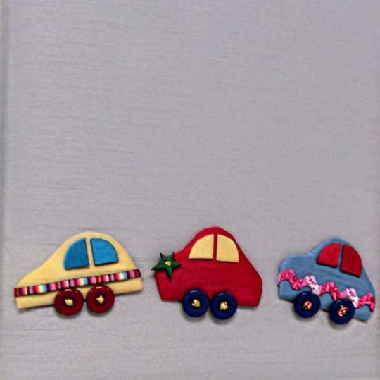 Swatch-45-Multicolored-Cars-on-Gray-Shantung
