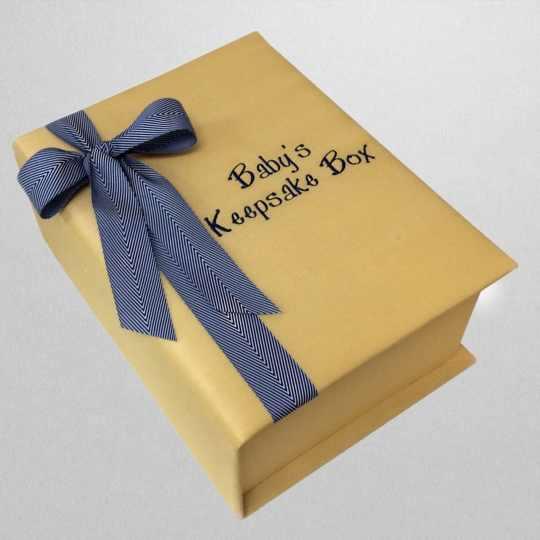B14C-52C-Yellow-Shantung-Blue-Striped-Ribbon-Style-151-Medium-Blue-Thread-Babys-Keepsake-Box-1